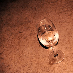 concrete counter top with wine glass
