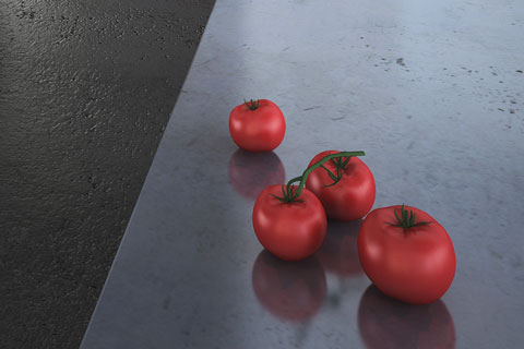 concrete counter top with red tomatoes
